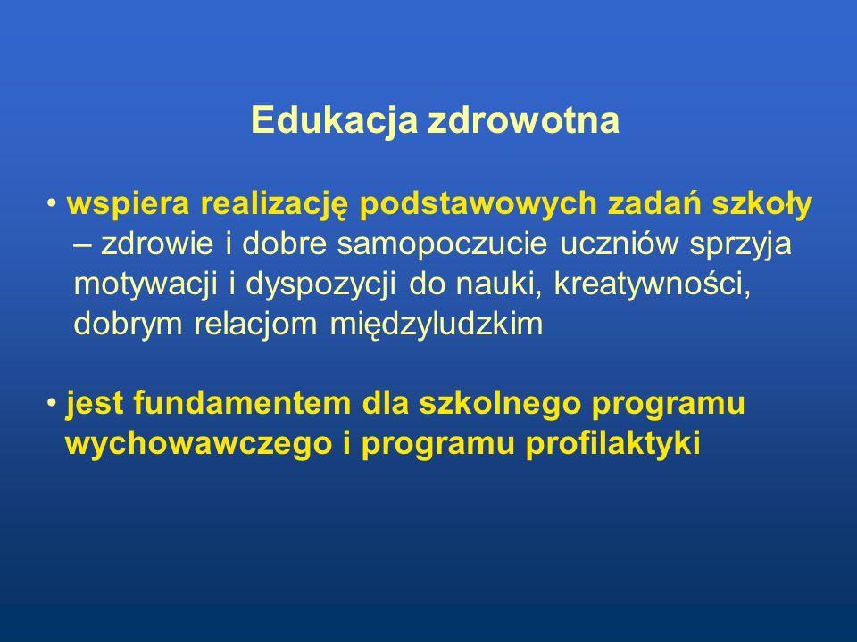 Edukacja zdrowotna wspiera realizację podstawowych zadań szkoły