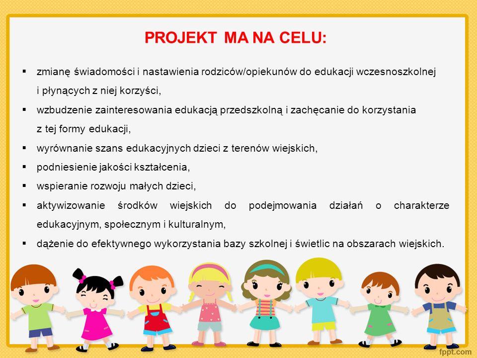 PROJEKT MA NA CELU: zmianę świadomości i nastawienia rodziców/opiekunów do edukacji wczesnoszkolnej.