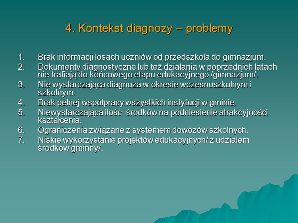 4. Kontekst diagnozy – problemy