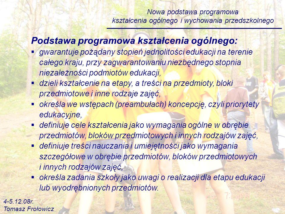 Podstawa programowa kształcenia ogólnego: