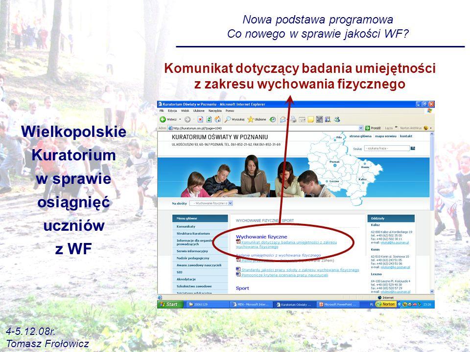 Wielkopolskie Kuratorium w sprawie osiągnięć uczniów z WF