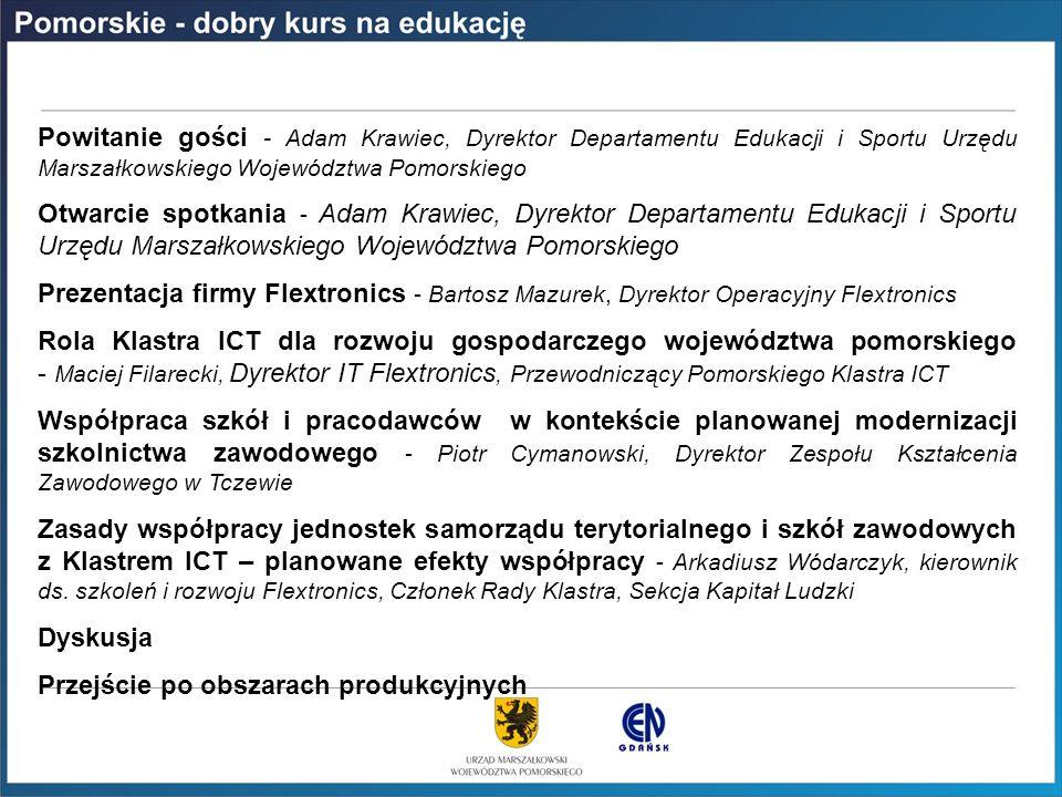 PROGRAM SPOTKANIA Powitanie gości - Adam Krawiec, Dyrektor Departamentu Edukacji i Sportu Urzędu Marszałkowskiego Województwa Pomorskiego.