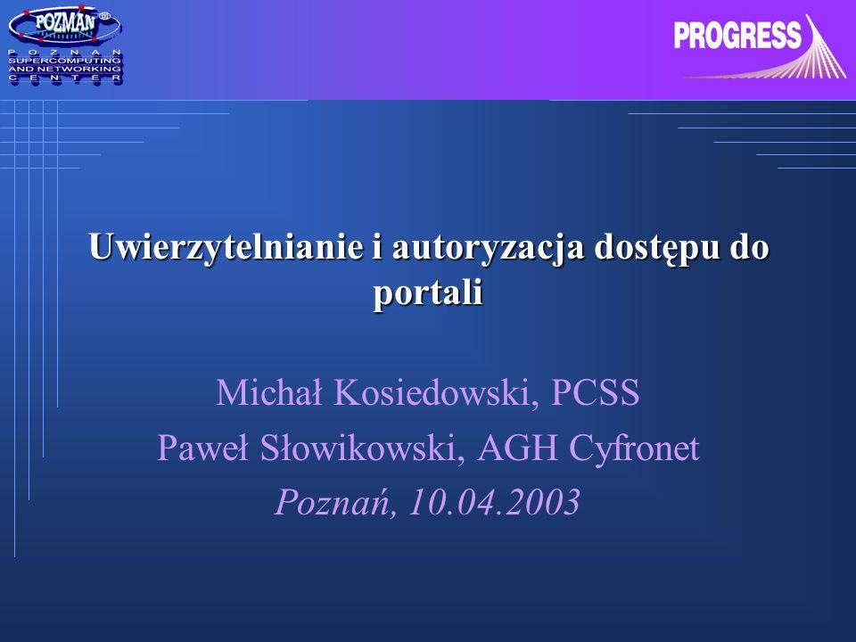 Uwierzytelnianie i autoryzacja dostępu do portali
