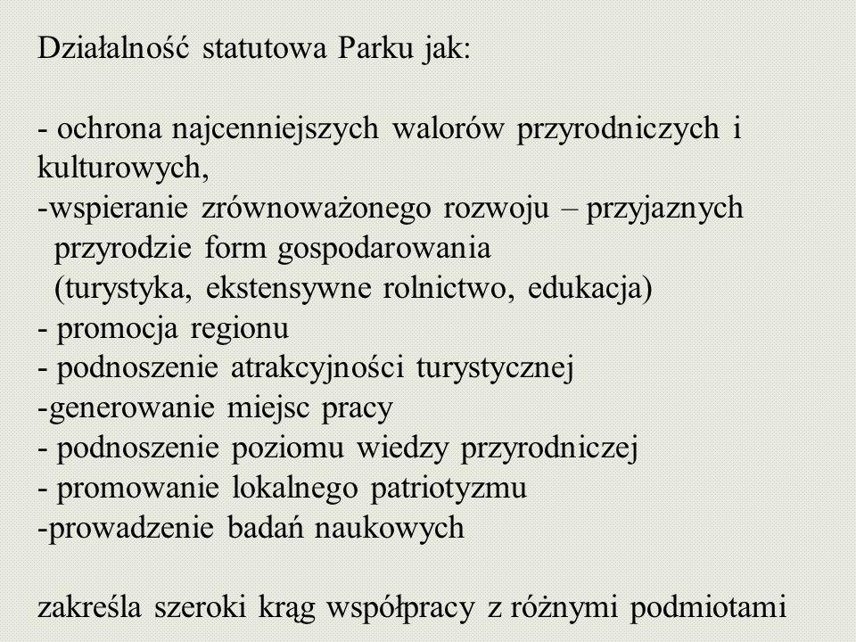 Działalność statutowa Parku jak: