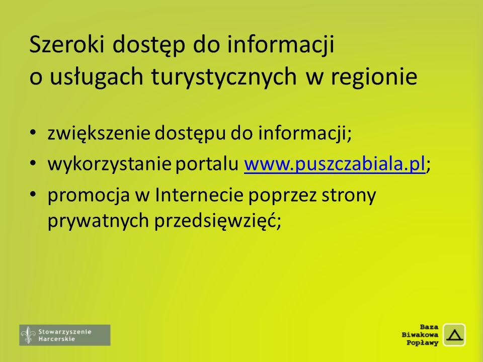 Szeroki dostęp do informacji o usługach turystycznych w regionie