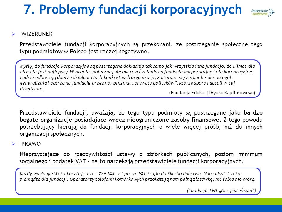 7. Problemy fundacji korporacyjnych