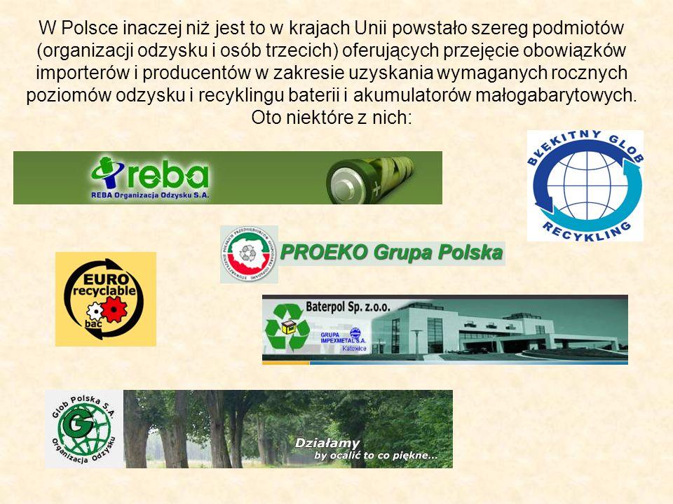 W Polsce inaczej niż jest to w krajach Unii powstało szereg podmiotów (organizacji odzysku i osób trzecich) oferujących przejęcie obowiązków importerów i producentów w zakresie uzyskania wymaganych rocznych poziomów odzysku i recyklingu baterii i akumulatorów małogabarytowych.
