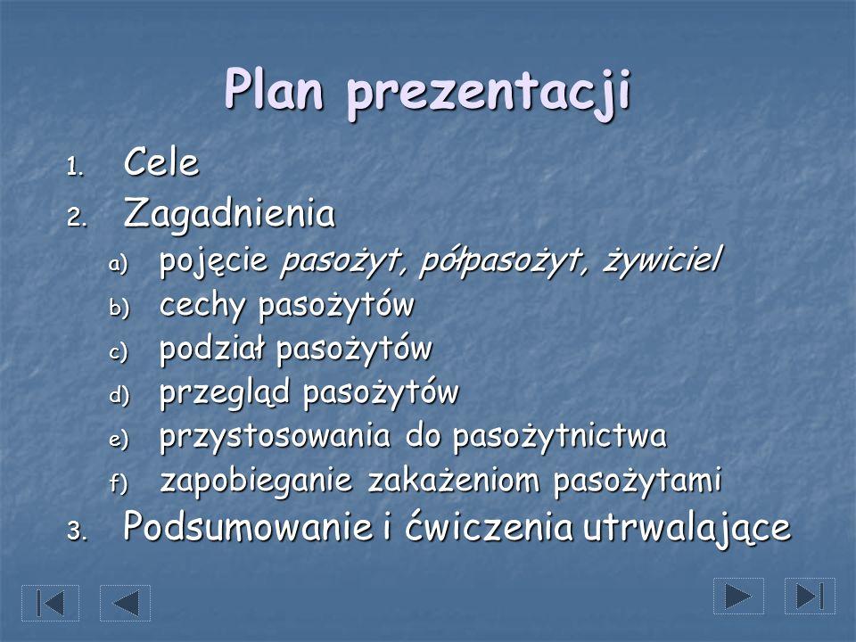 Plan prezentacji Cele Zagadnienia Podsumowanie i ćwiczenia utrwalające