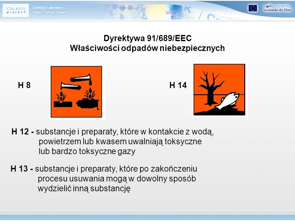 Dyrektywa 91/689/EEC Właściwości odpadów niebezpiecznych
