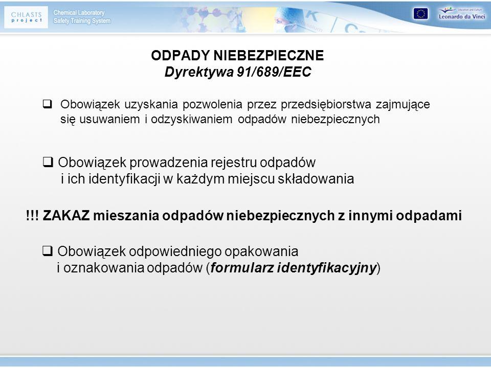 ODPADY NIEBEZPIECZNE Dyrektywa 91/689/EEC