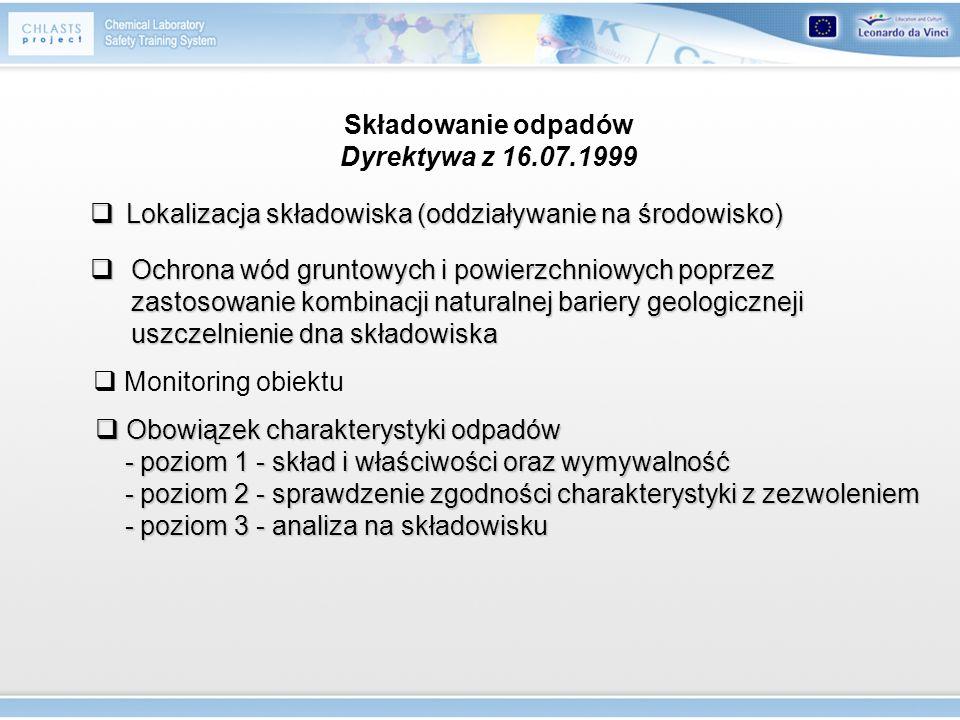 Składowanie odpadów Dyrektywa z 16.07.1999