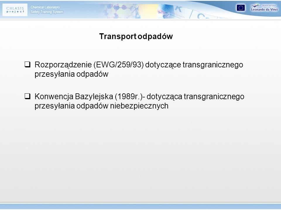 Transport odpadów Rozporządzenie (EWG/259/93) dotyczące transgranicznego przesyłania odpadów.