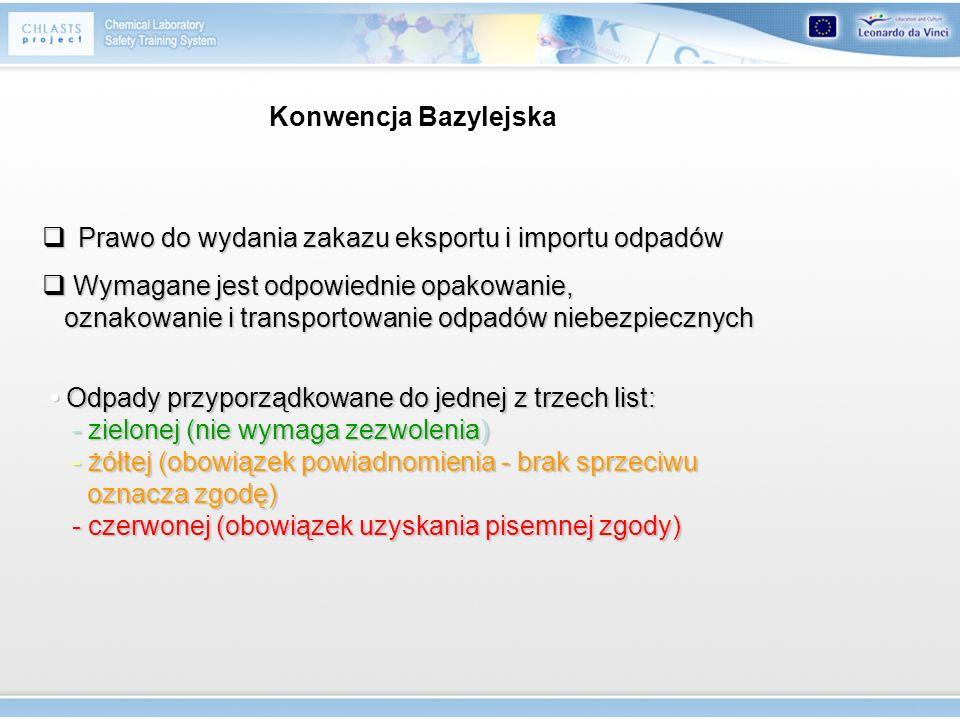 Konwencja Bazylejska Prawo do wydania zakazu eksportu i importu odpadów. Wymagane jest odpowiednie opakowanie,