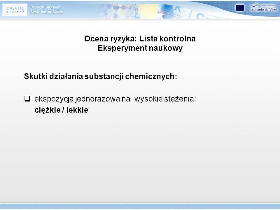 Ocena ryzyka: Lista kontrolna Eksperyment naukowy
