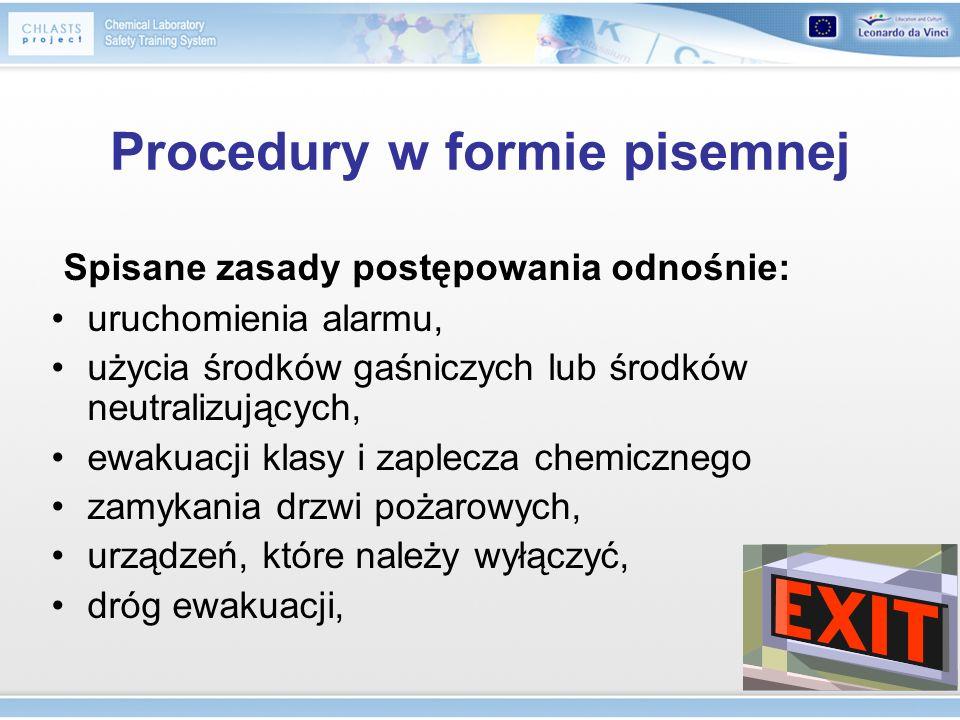 Procedury w formie pisemnej