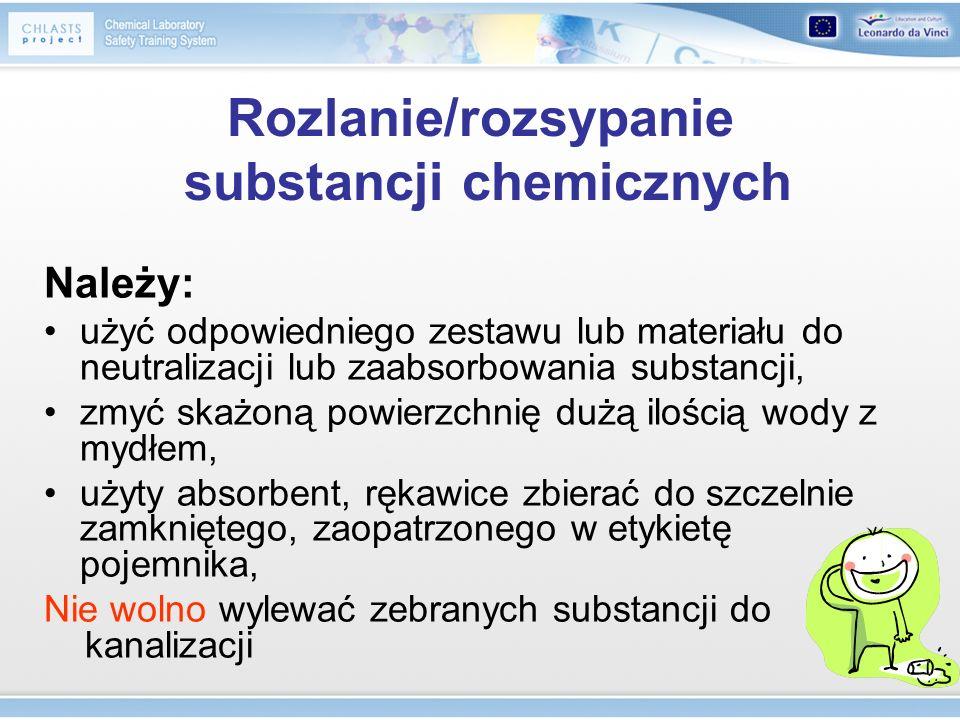 Rozlanie/rozsypanie substancji chemicznych