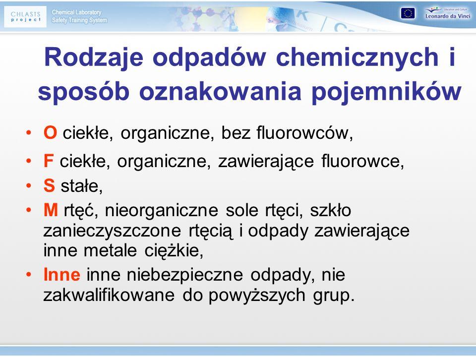 Rodzaje odpadów chemicznych i sposób oznakowania pojemników