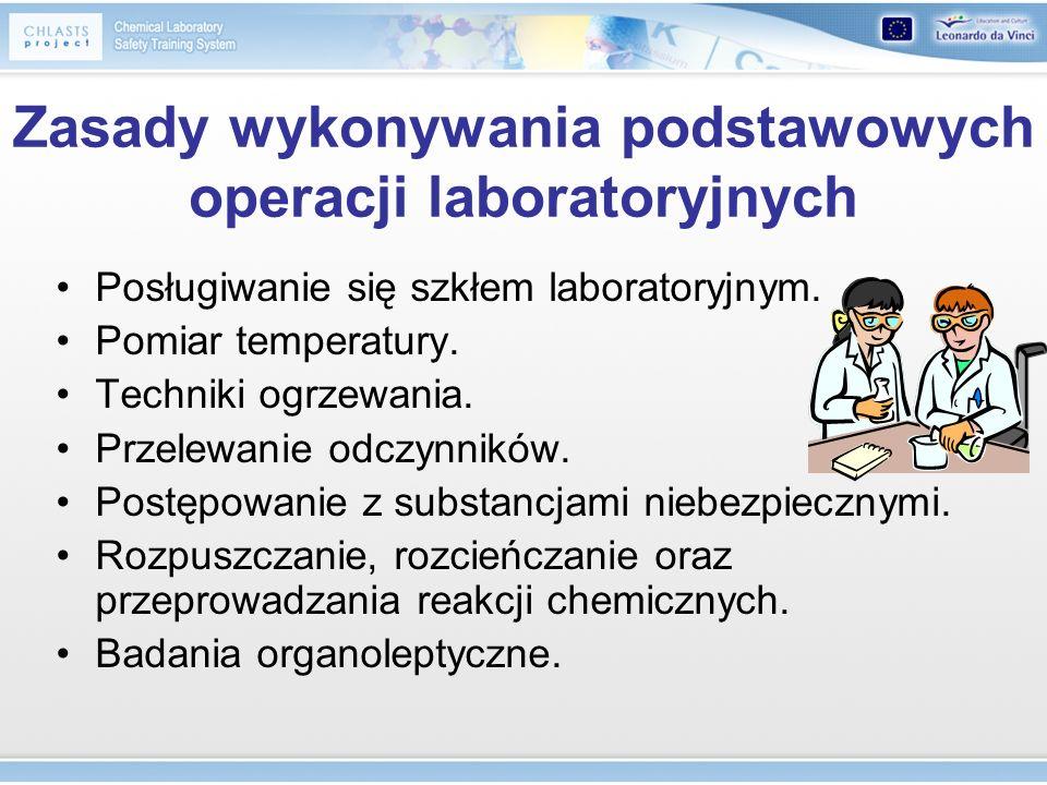Zasady wykonywania podstawowych operacji laboratoryjnych