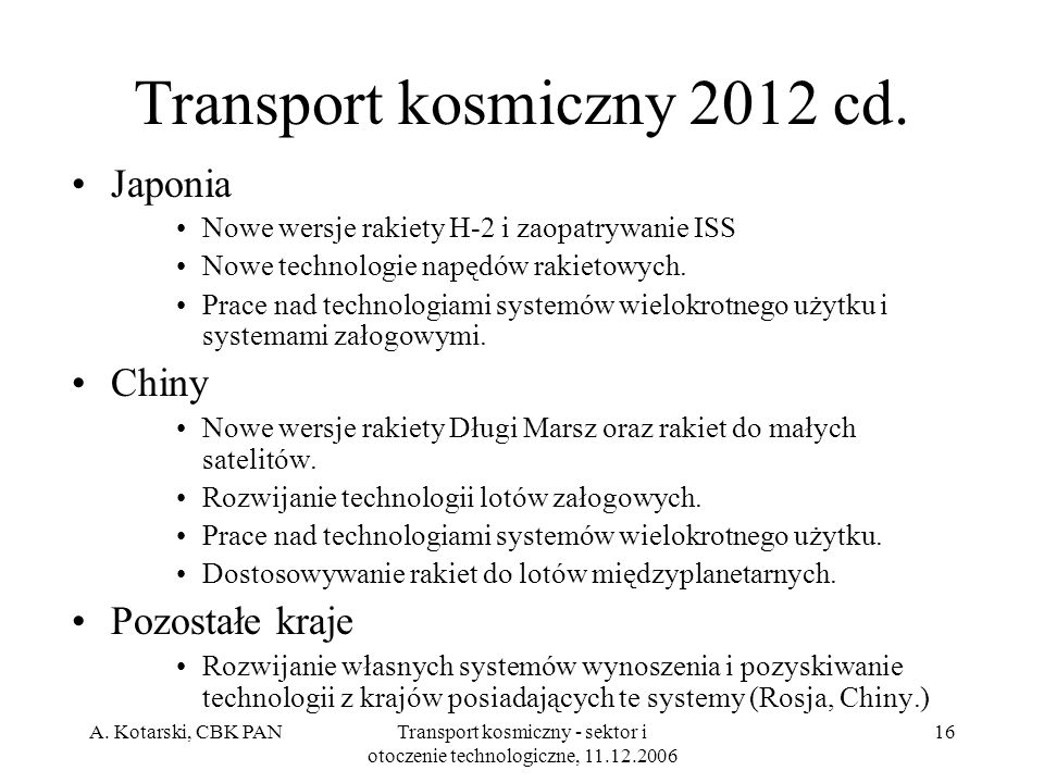 Transport kosmiczny 2012 cd.