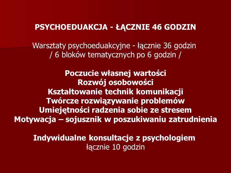 PSYCHOEDUAKCJA - ŁĄCZNIE 46 GODZIN