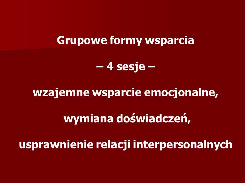 Grupowe formy wsparcia – 4 sesje – wzajemne wsparcie emocjonalne,
