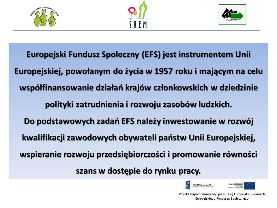 Europejski Fundusz Społeczny (EFS) jest instrumentem Unii Europejskiej, powołanym do życia w 1957 roku i mającym na celu współfinansowanie działań krajów członkowskich w dziedzinie polityki zatrudnienia i rozwoju zasobów ludzkich.