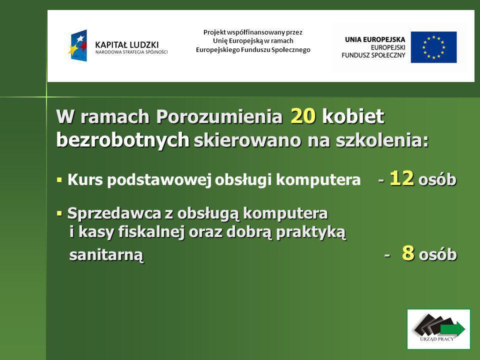W ramach Porozumienia 20 kobiet bezrobotnych skierowano na szkolenia: