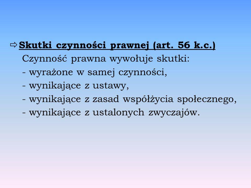 Skutki czynności prawnej (art. 56 k.c.)