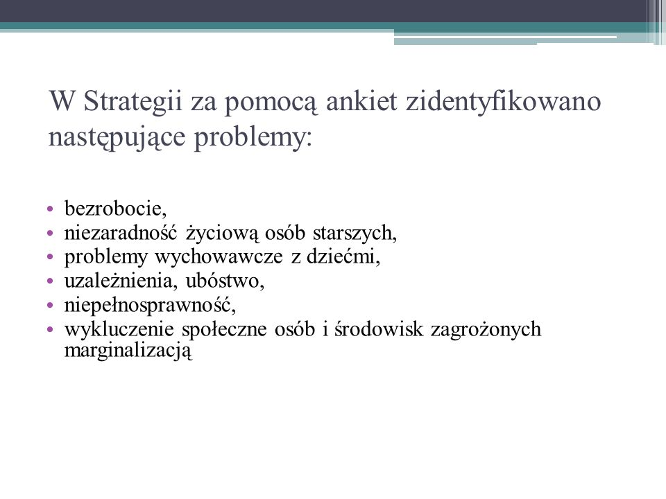 W Strategii za pomocą ankiet zidentyfikowano następujące problemy: