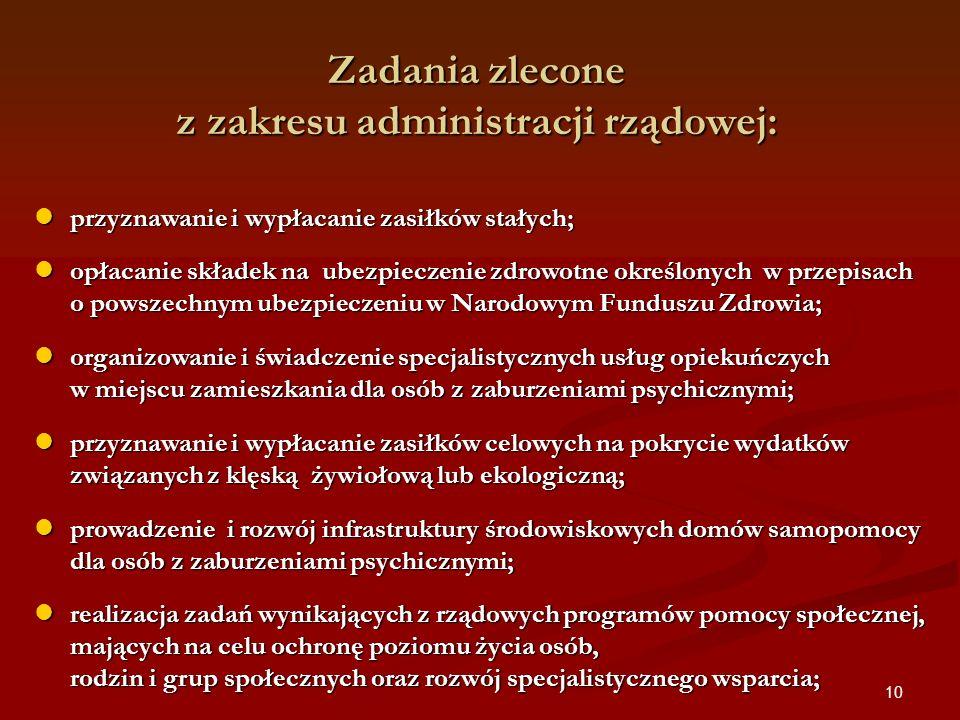 Zadania zlecone z zakresu administracji rządowej: