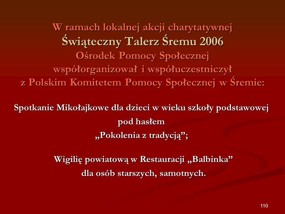 W ramach lokalnej akcji charytatywnej Świąteczny Talerz Śremu 2006 Ośrodek Pomocy Społecznej współorganizował i współuczestniczył z Polskim Komitetem Pomocy Społecznej w Śremie: