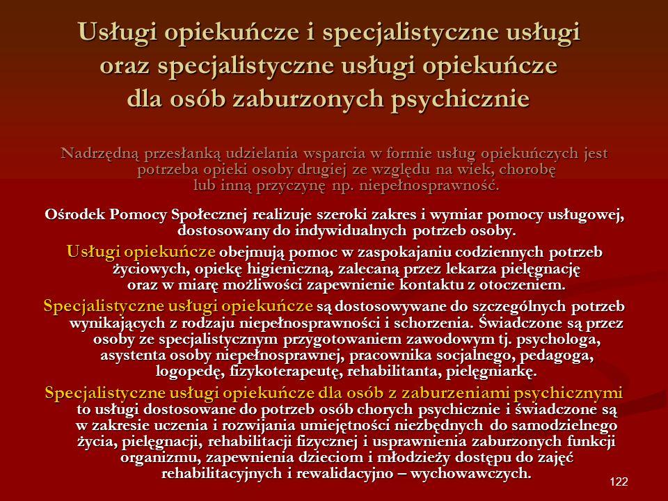 Usługi opiekuńcze i specjalistyczne usługi oraz specjalistyczne usługi opiekuńcze dla osób zaburzonych psychicznie