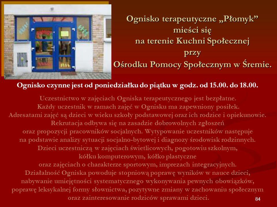 """Ognisko terapeutyczne """"Płomyk mieści się na terenie Kuchni Społecznej przy Ośrodku Pomocy Społecznym w Śremie."""