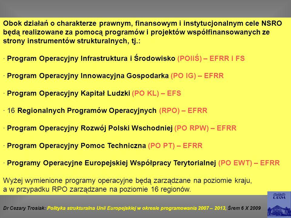 · Program Operacyjny Infrastruktura i Środowisko (POIiŚ) – EFRR i FS