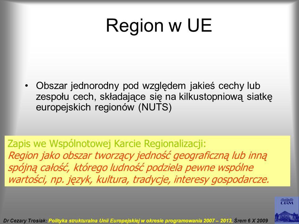 Region w UE Obszar jednorodny pod względem jakieś cechy lub zespołu cech, składające się na kilkustopniową siatkę europejskich regionów (NUTS)