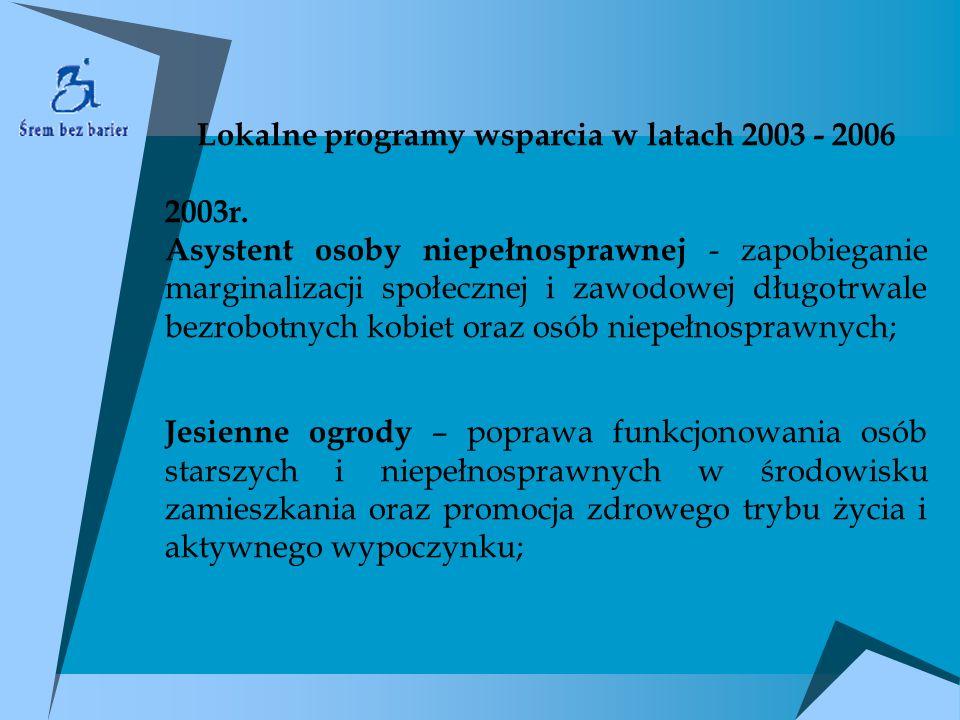 Lokalne programy wsparcia w latach 2003 - 2006