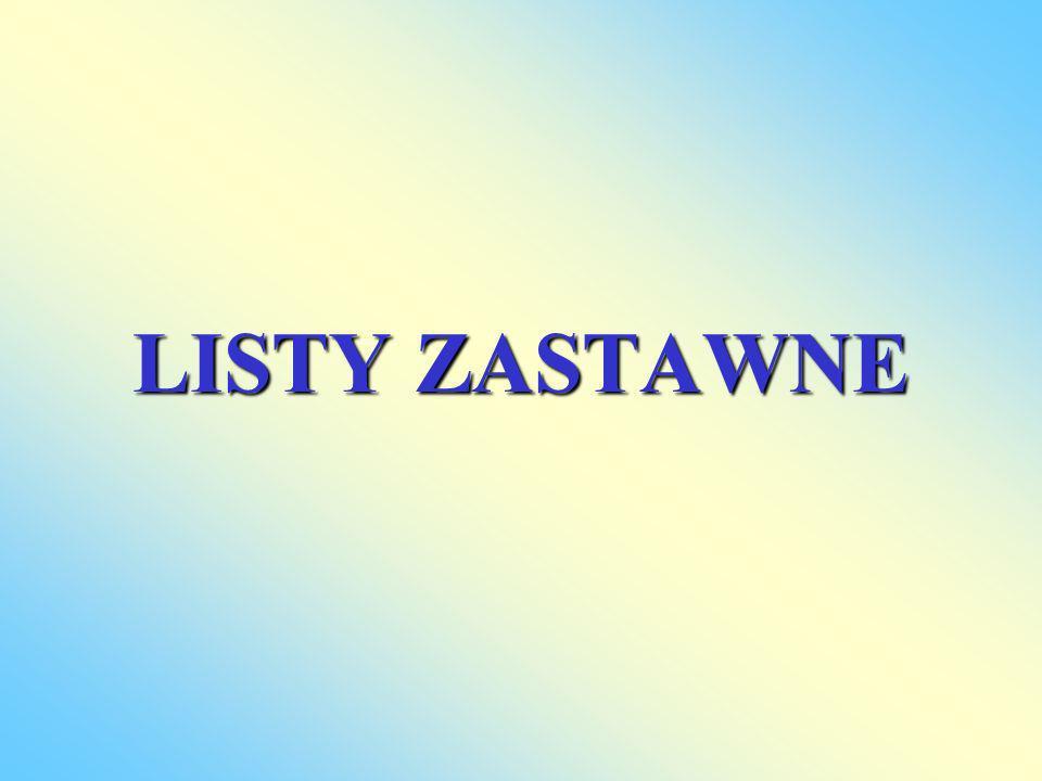 LISTY ZASTAWNE