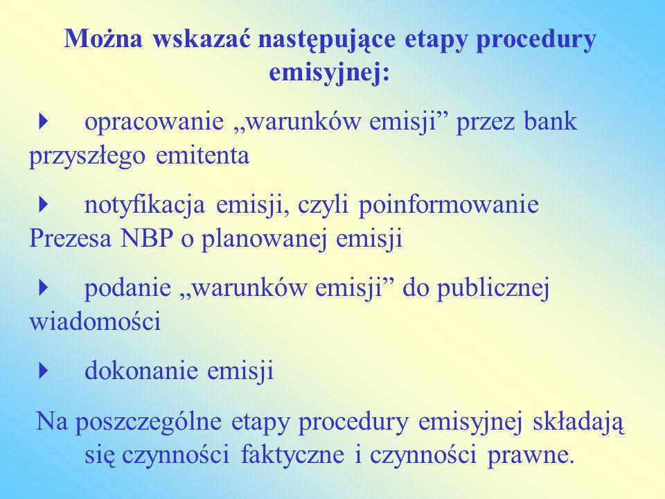 Można wskazać następujące etapy procedury emisyjnej: