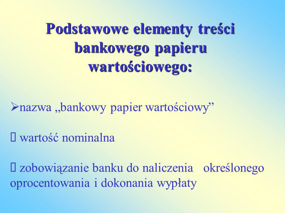 Podstawowe elementy treści bankowego papieru wartościowego:
