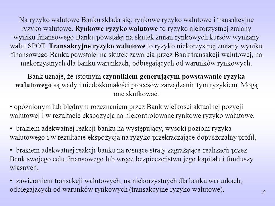 Na ryzyko walutowe Banku składa się: rynkowe ryzyko walutowe i transakcyjne ryzyko walutowe. Rynkowe ryzyko walutowe to ryzyko niekorzystnej zmiany wyniku finansowego Banku powstałej na skutek zmian rynkowych kursów wymiany walut SPOT. Transakcyjne ryzyko walutowe to ryzyko niekorzystnej zmiany wyniku finansowego Banku powstałej na skutek zawarcia przez Bank transakcji walutowej, na niekorzystnych dla banku warunkach, odbiegających od warunków rynkowych.