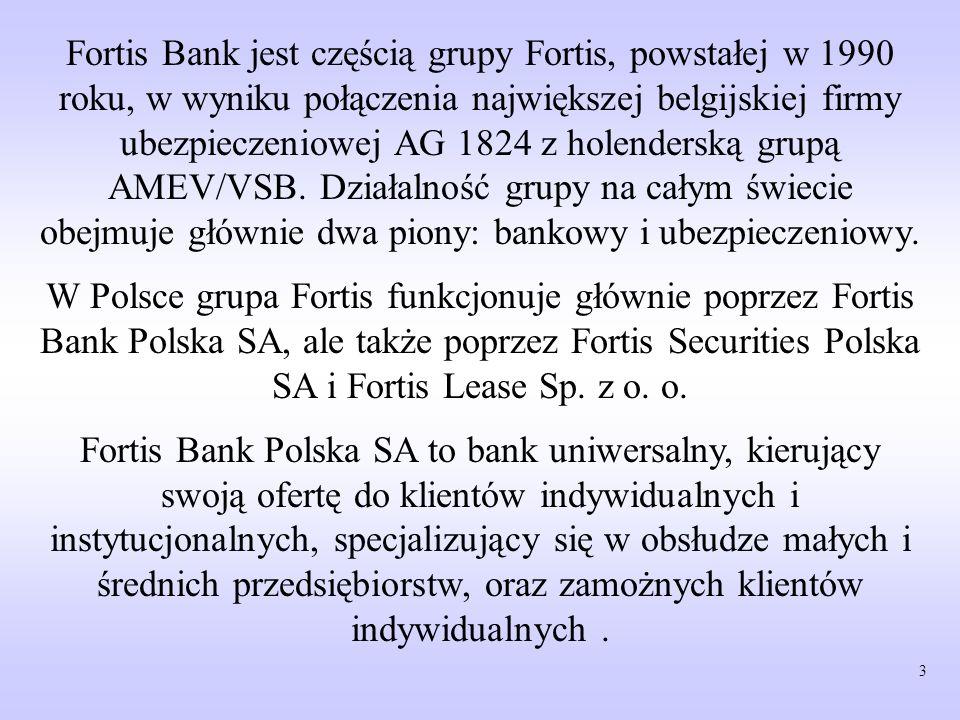 Fortis Bank jest częścią grupy Fortis, powstałej w 1990 roku, w wyniku połączenia największej belgijskiej firmy ubezpieczeniowej AG 1824 z holenderską grupą AMEV/VSB. Działalność grupy na całym świecie obejmuje głównie dwa piony: bankowy i ubezpieczeniowy.