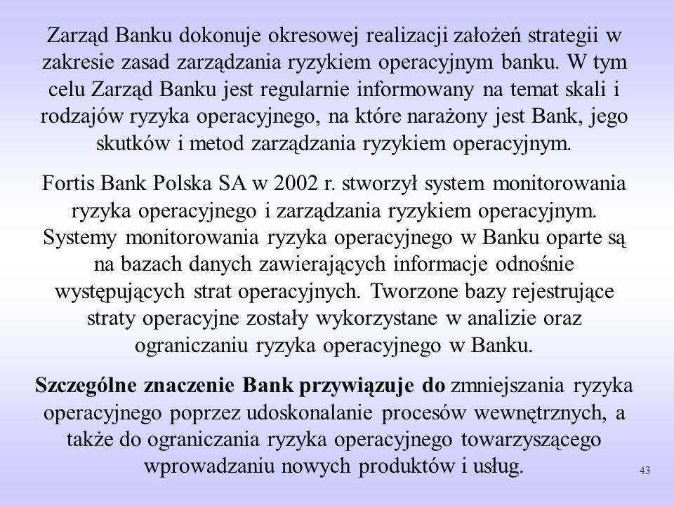 Zarząd Banku dokonuje okresowej realizacji założeń strategii w zakresie zasad zarządzania ryzykiem operacyjnym banku. W tym celu Zarząd Banku jest regularnie informowany na temat skali i rodzajów ryzyka operacyjnego, na które narażony jest Bank, jego skutków i metod zarządzania ryzykiem operacyjnym.