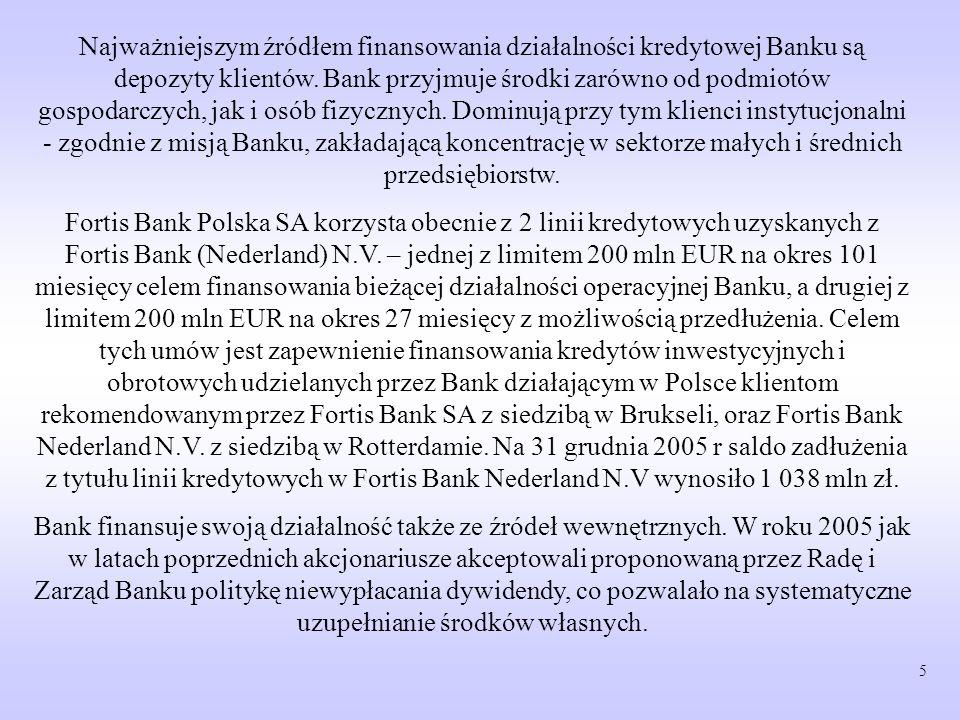 Najważniejszym źródłem finansowania działalności kredytowej Banku są depozyty klientów. Bank przyjmuje środki zarówno od podmiotów gospodarczych, jak i osób fizycznych. Dominują przy tym klienci instytucjonalni - zgodnie z misją Banku, zakładającą koncentrację w sektorze małych i średnich przedsiębiorstw.