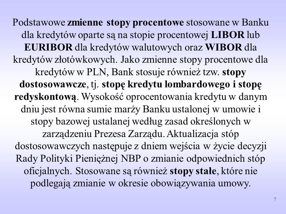 Podstawowe zmienne stopy procentowe stosowane w Banku dla kredytów oparte są na stopie procentowej LIBOR lub EURIBOR dla kredytów walutowych oraz WIBOR dla kredytów złotówkowych.