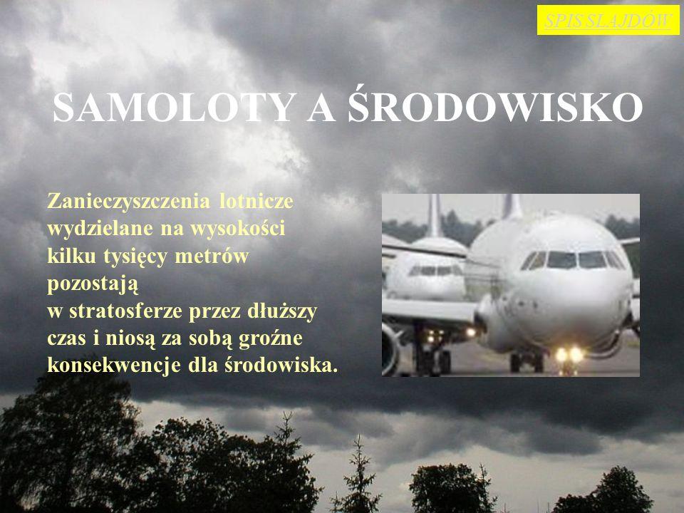 SPIS SLAJDÓW SAMOLOTY A ŚRODOWISKO. Zanieczyszczenia lotnicze wydzielane na wysokości kilku tysięcy metrów pozostają.