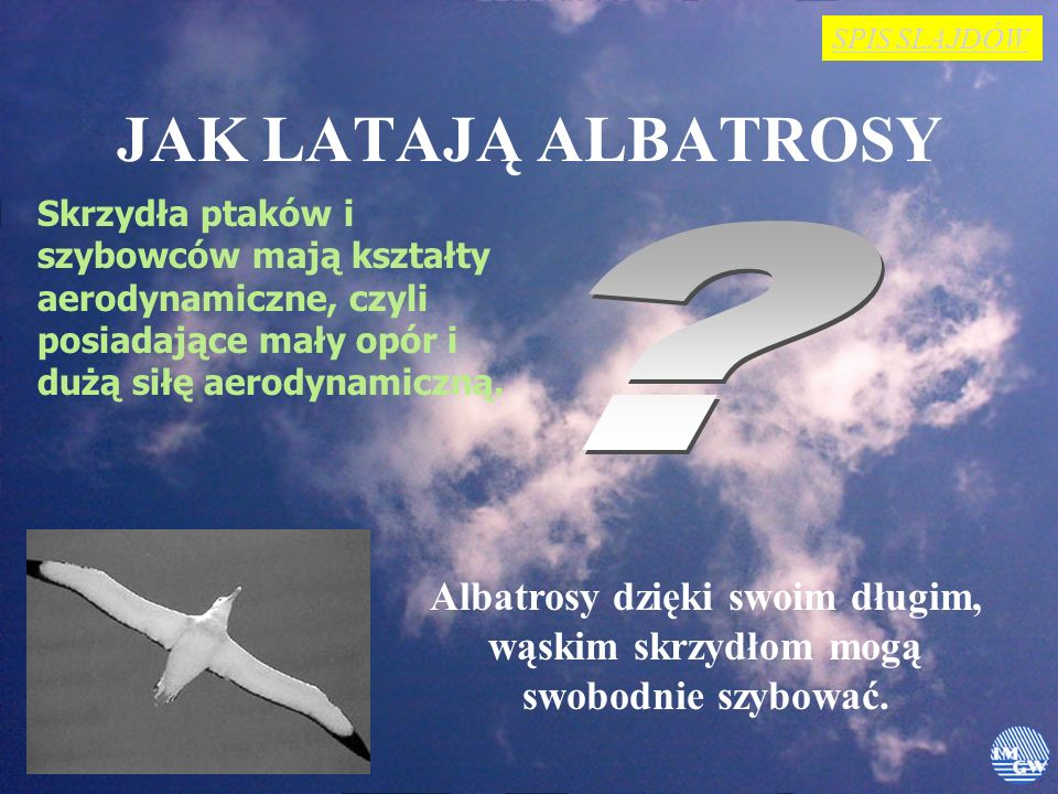 SPIS SLAJDÓW JAK LATAJĄ ALBATROSY. Skrzydła ptaków i szybowców mają kształty aerodynamiczne, czyli posiadające mały opór i dużą siłę aerodynamiczną.