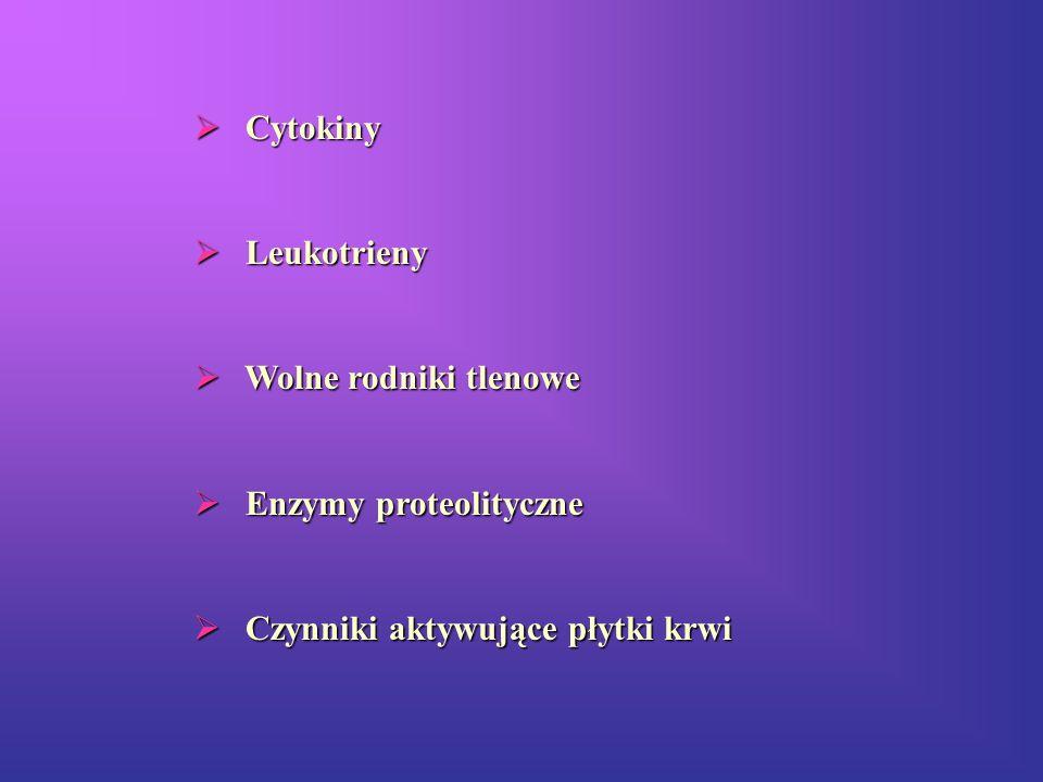 Cytokiny Leukotrieny Wolne rodniki tlenowe Enzymy proteolityczne Czynniki aktywujące płytki krwi