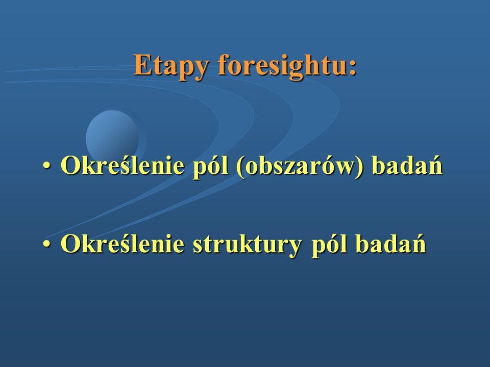Etapy foresightu: Określenie pól (obszarów) badań