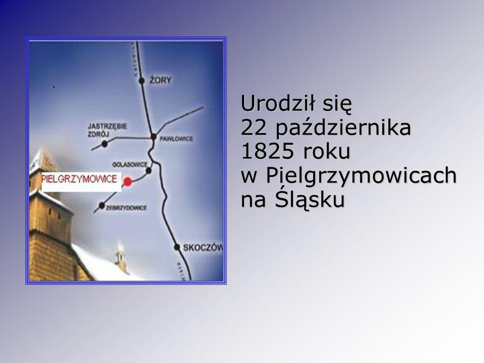 Urodził się 22 października 1825 roku w Pielgrzymowicach na Śląsku