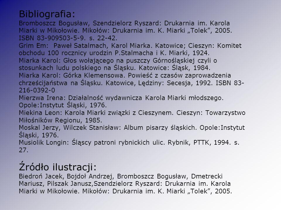 Bibliografia: Bromboszcz Bogusław, Szendzielorz Ryszard: Drukarnia im